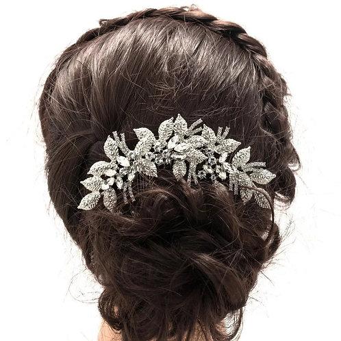 Beautiful Silver Floral Bridal Comb