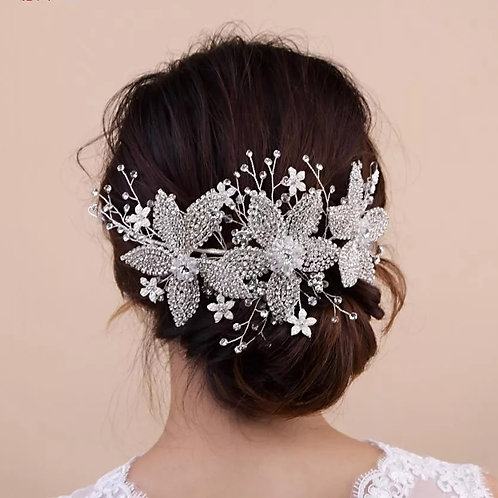 Beautiful Crystal Headpiece.Silver or Gold