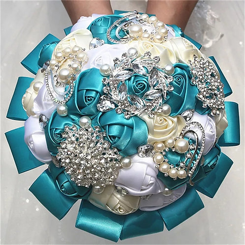 Beautiful Handmade With crystals,Teal White & Cream