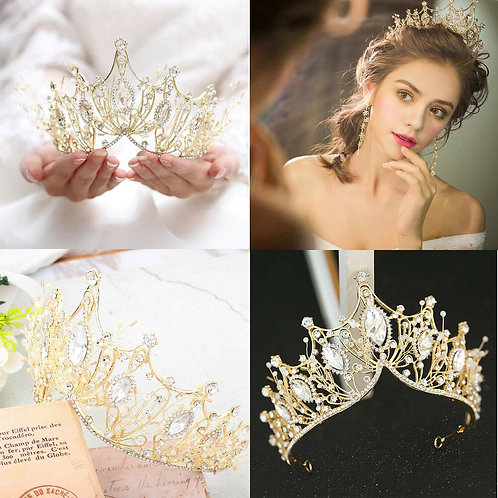 Beautiful Handmade Bridal Tiara with Crystals.Also in Gold & Rose Gold
