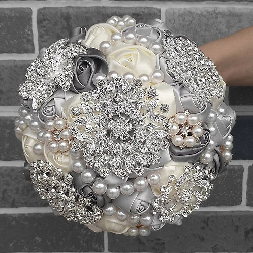 Beautiful Handmade Silver and Ivory Brooch Bridal Bouquet Adorned with Crystals
