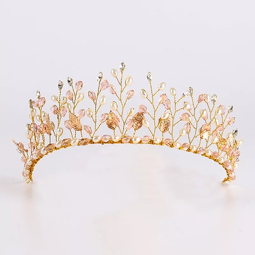 Stunning Gold Bridal Headpiece with Lovely Bead & Leaf detail