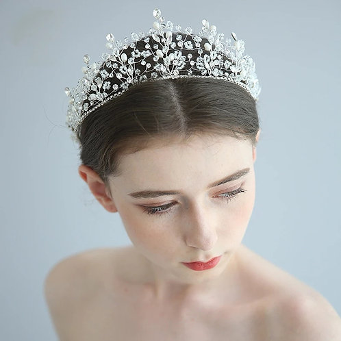 Stunning Handmade Silver Bridal Tiara, Adorned with Crystals and Pearls