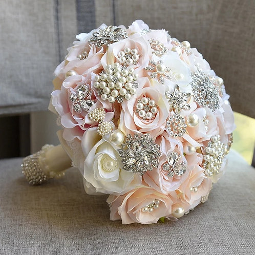 Beautiful Pink & White Bridal Bouquet with Crystals & Pearls