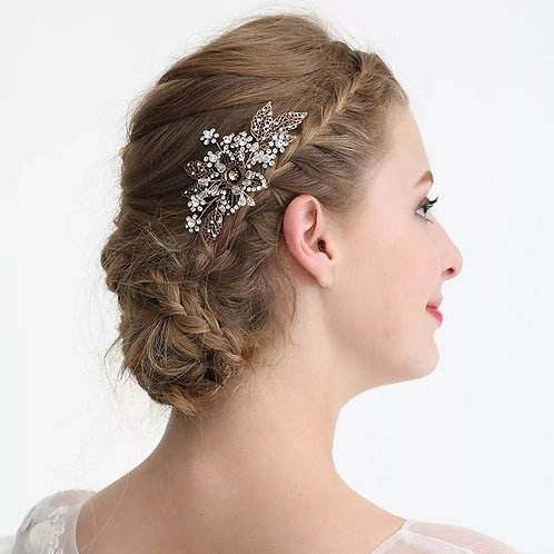 Bronze & Crystal Bridal Comb with Beautiful Floral Detail