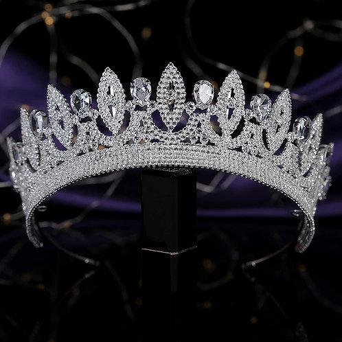 Majestic silver Bridal Tiara with Beautiful Swarovski Crystals.