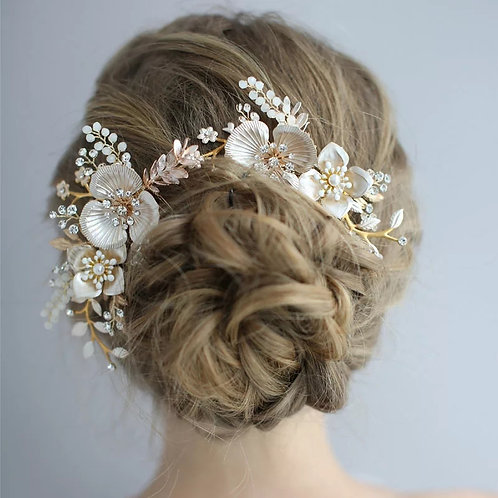 Gold Bridal Headpiece with Pearls & Flowers.Stunning!