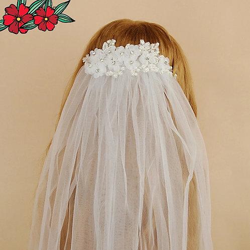 Handmade Wedding Veil with Pretty Floral Headpiece