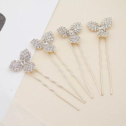 Lovely Gold & Crystal Bridal Pins.Set of 4