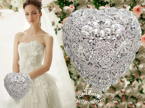 Stunning Silver Heart Bridal Bouquet Encrusted with Stunning Crystals