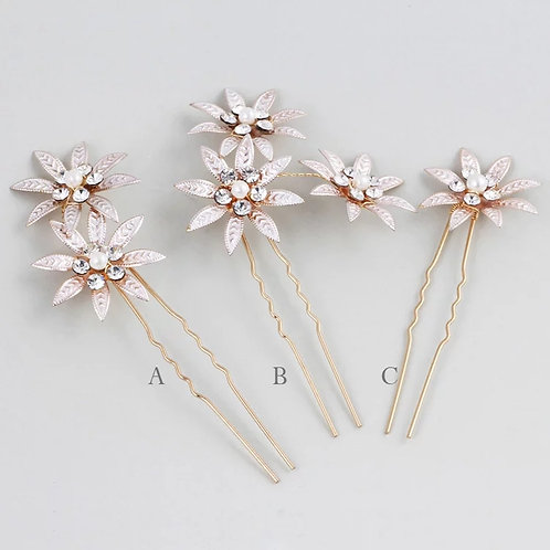 Pretty Gold Floral Crystal Bridal Pins.Set of 3
