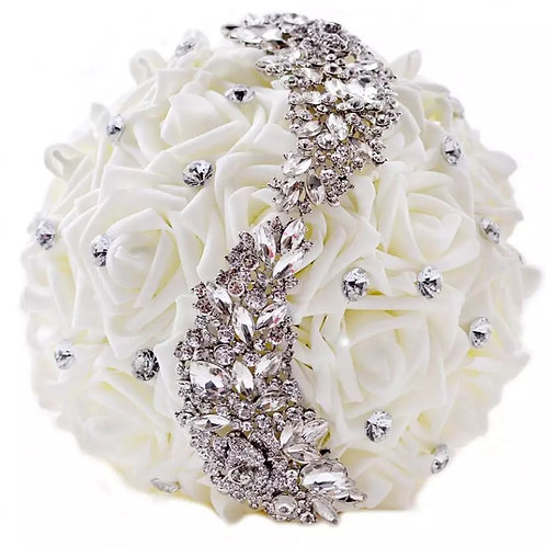 Exsquisite Handmade Ivory Bridal Bouquet Adorned with Crystals