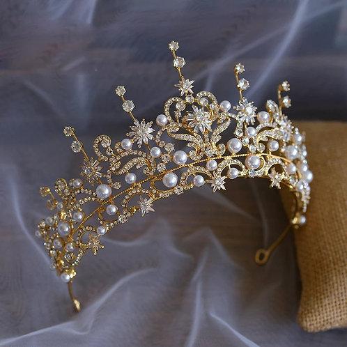 Beautiful Gold & Pearl Bridal Tiara Adorned with Crystals5