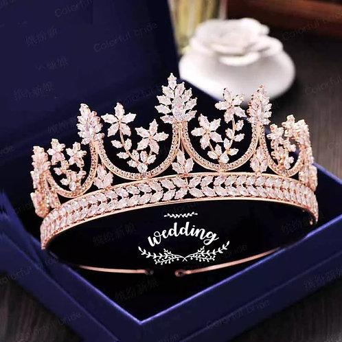 Stunning Rose Gold Bridal Tiara with Swarovski Crystals