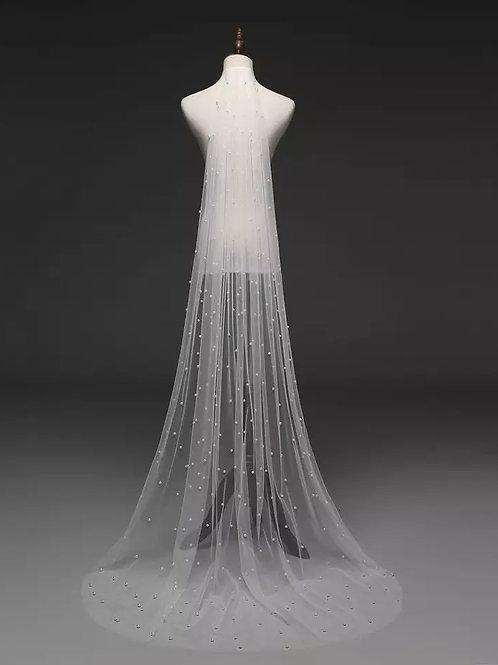 Stunning Pearl Wedding Veil.White or Ivory: Length 250 Cms