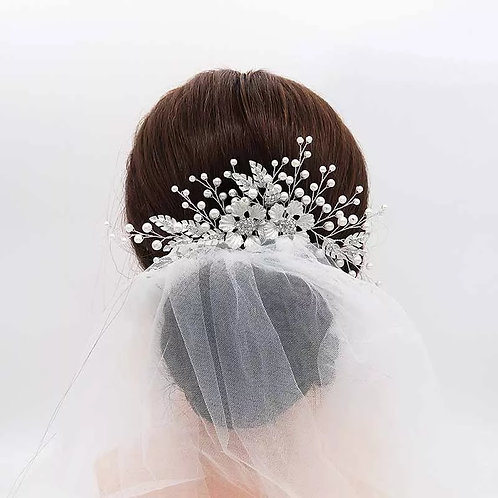Beautiful Handmade Silver Bridal Comb.Adorned with Flower & Sprigs of pearls.