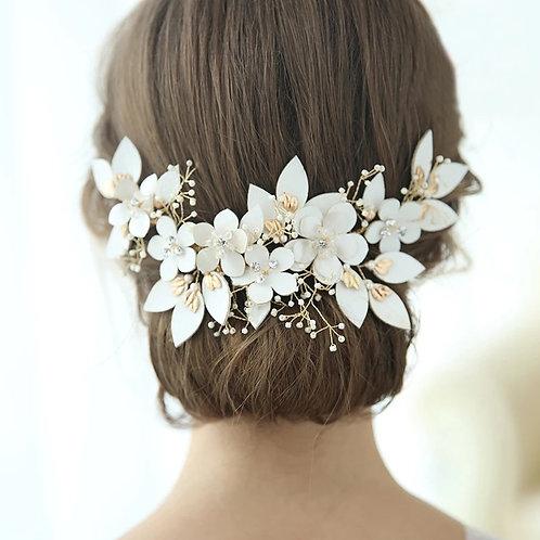 Pretty Gold & Ivory Bridal Headpiece/Headband