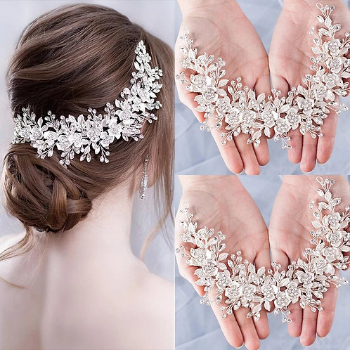 Lovely Handmade Bridal Headband,Headpiece with Flowers & Crystals