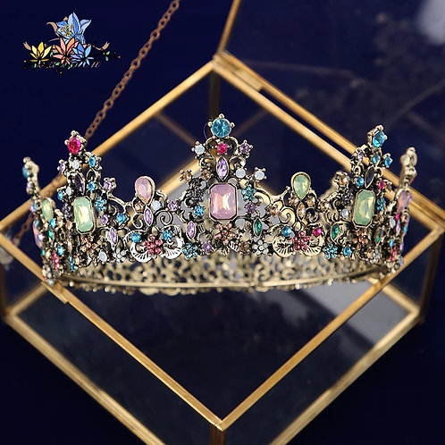 Beautiful Bronze & Gold Bridal Crown with Beautiful Coloured Crystals.