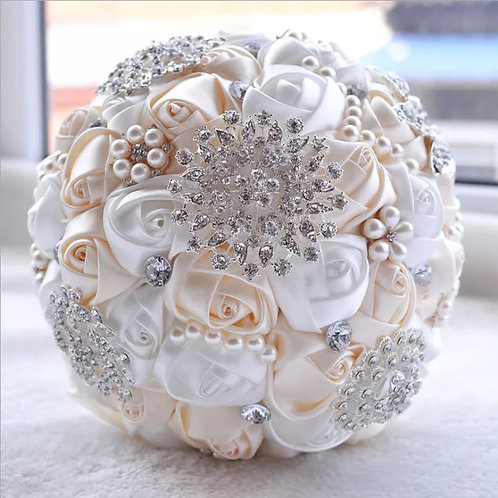 Stunning Cream & White Brooch Bridal Bouquet Adorned with Crystals