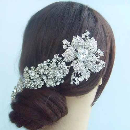 Silver Bridal Comb with Beautiful Crystal Flowers