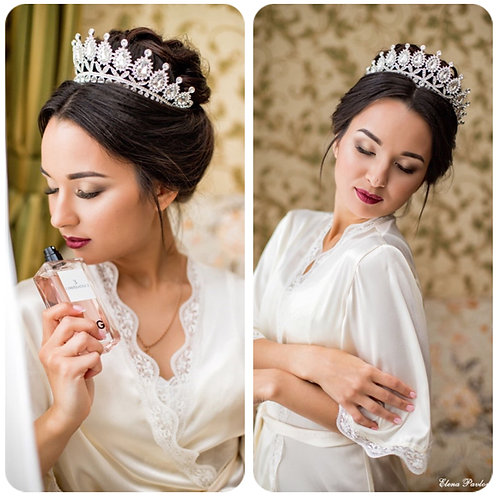 Beautiful Handmade Silver Bridal Tiara with Crystals.Also in Gold & Rose Gold