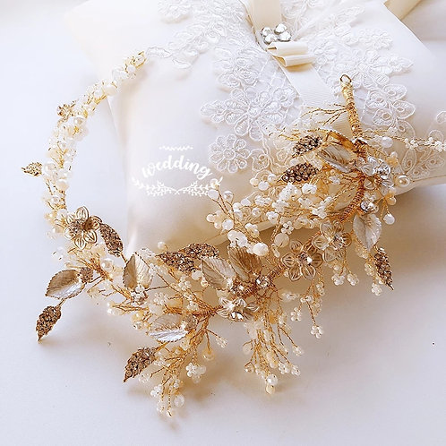 Beautiful Gold Floral & Pearl Bridal Headpiece