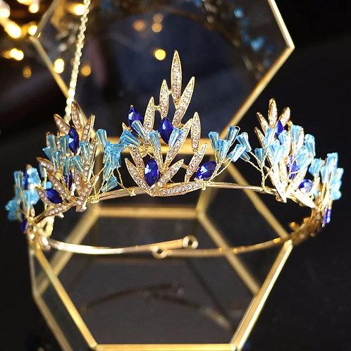 Stunning Gold & Blue Crystal Wedding Tiara l