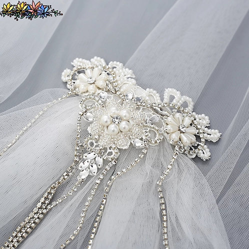 Beautiful Wedding Veil with Headpiece in White or Ivory