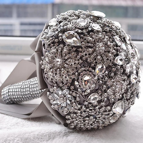 Beautiful Handmade Silver Bridal Bouquet Adorned with Swarovski Crystals