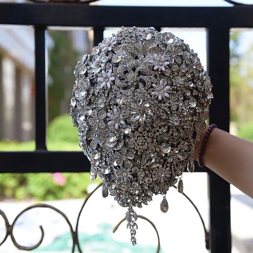 Stunning Silver Teardrop Bridal Bouquet Encrusted with Stunning Crystals