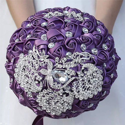 Beautiful Purple & Silver Bridal Bouquet Encrusted with Stunning Crystals