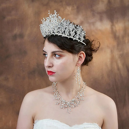 Exsquite Silver Bridal Tiara Encrusted with Stunning Crystal Beads