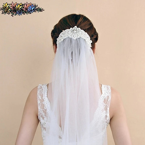 Beautiful Bridal Veil with Beaded Headpiece
