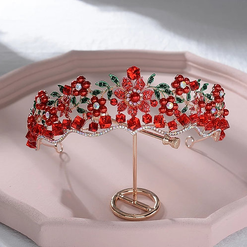 Exquisite Gold Bridal Tiara with Stunning Red Floral Crystals
