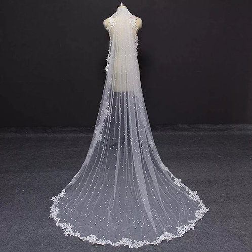 Beautiful Bridal Veil With Pearls & Emboridered Edge.150 Cms.
