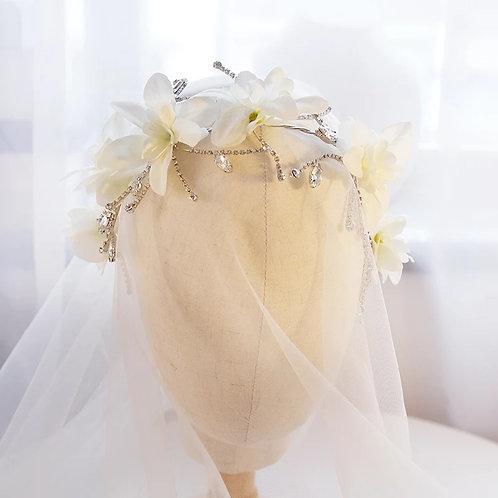 Pretty Floral Bridal Headpiece with Crystals