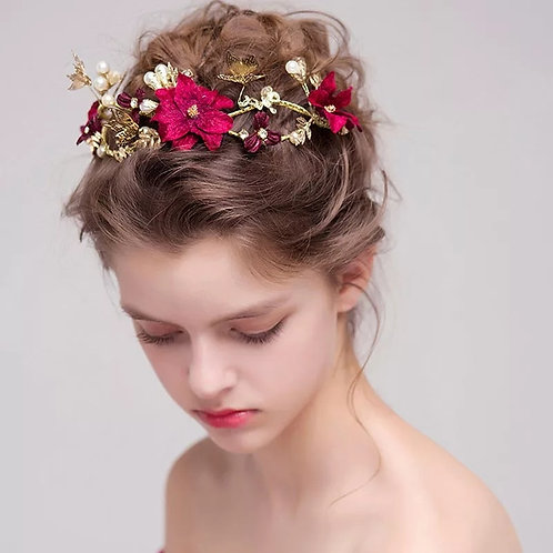 Lovely Gold & Red Floral Headpiece/Hair Vine