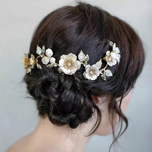 Lovely Bridal Headpiece-Gold Floral