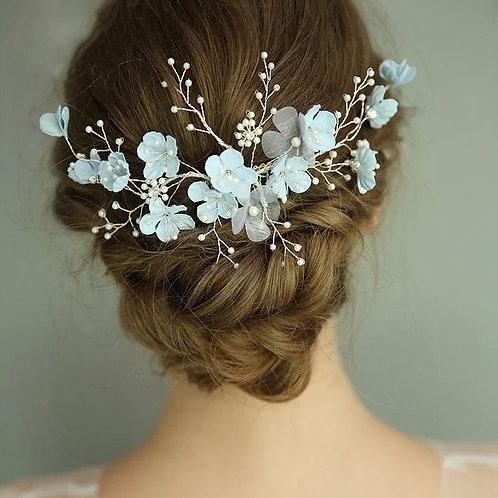 Pretty Pale Blue Floral Bridal Hair Vine,Headpiece