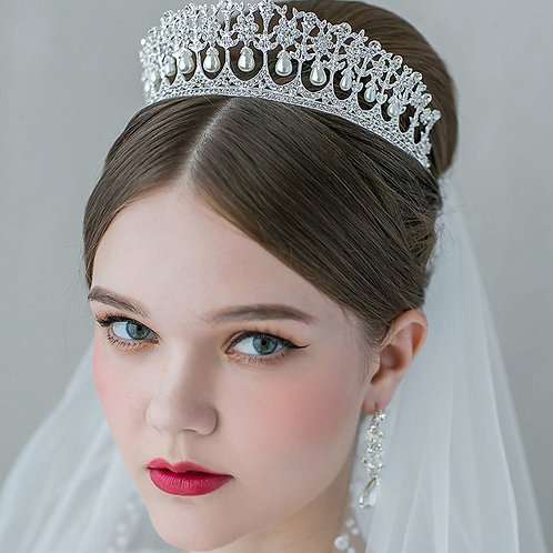 Handmade Bridal Tiara with Pearls.Choice of 3 Colours.