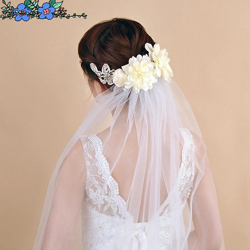 Tulle Wedding Vile with Pretty Floral Headpiece.In White or Ivory