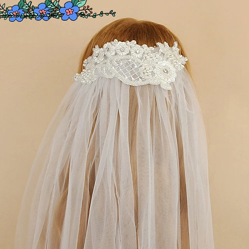 Beautiful Wedding Veil With Embroidered Headpiece.