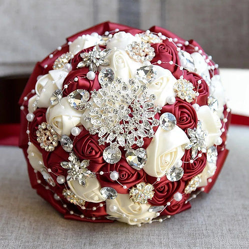 Stunning Wedding Brooch Bouquet with Crystals & Pearls In Dark Red & Ivory
