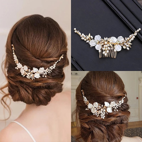 Pretty Gold Floral Bridal comb/Headpiece