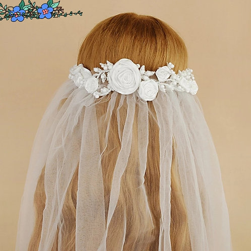 Exquisite Floral Wedding Veil with Headpiece.Available in Ivory or White