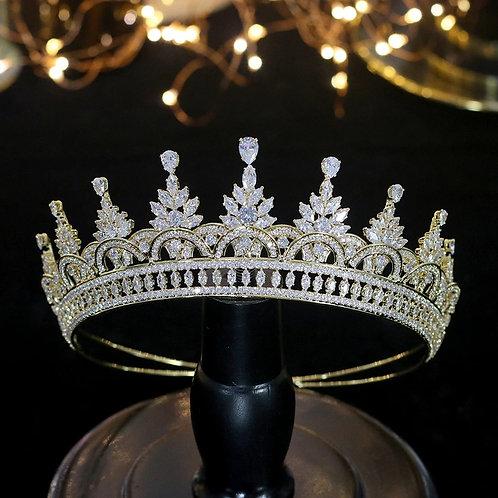 Exsquite Gold Bridal Tiara Encrusted with Stunning Swarovski Crystals