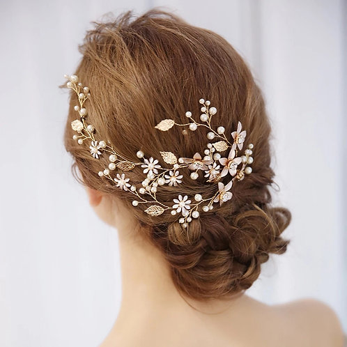 Pretty Gold Hair Vine with Pearls & Flowers