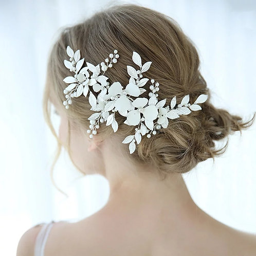 Lovely White Bridal Headpiece with Leaves