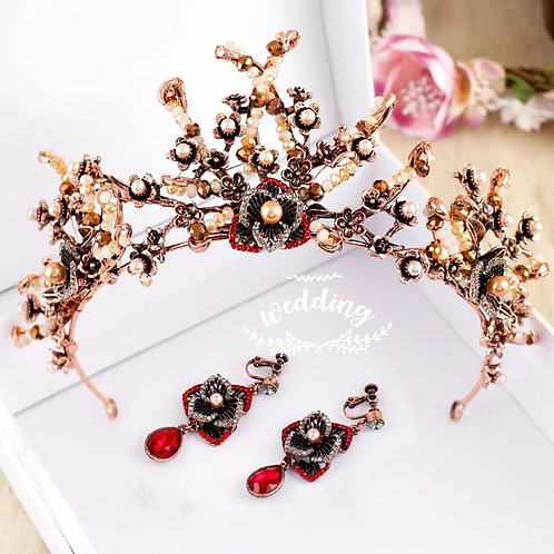 Lovely Gold Baroque Tiara with Matching Earrings